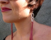 Leather Fringe Earrings - Pink and Silver Shoulder Dusters