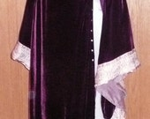 Maleficent Game of Thrones Gothic Purple Silk Velvet Tabard and Silver Silk Dress Chemise