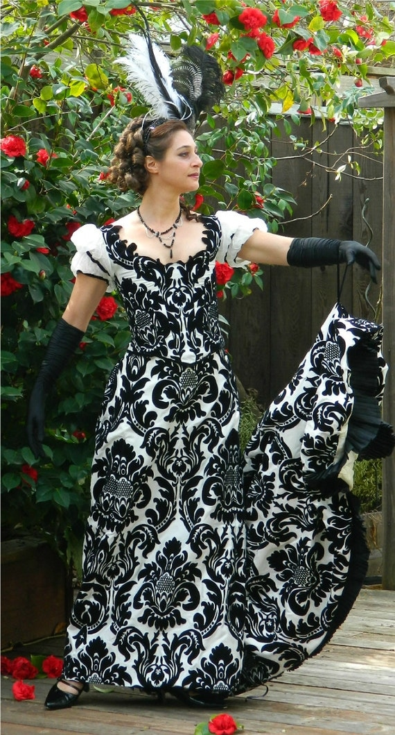 Edwardian Bustle Gown Charles Worth Inspired