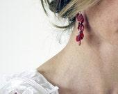 Red Shell Cluster Earrings Dangle Earrings Drop Earrings Sterling Silver Hand Made