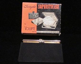 1950's Compact Purse Vintage Volupte Moire Compact Purse Rhinestone Compact Purse Gold Purse UNUSED ORIGINAL BOX