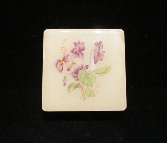 Vintage Alabaster Box Italian Hand Craved Box Handpainted Purple Flowers Trinket Box Jewelry Box
