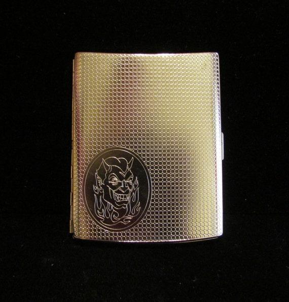 1960's Cigarette Case Silver Cigarette Case Goth Cigarette Case Devil Case Business Card Case Money Holder