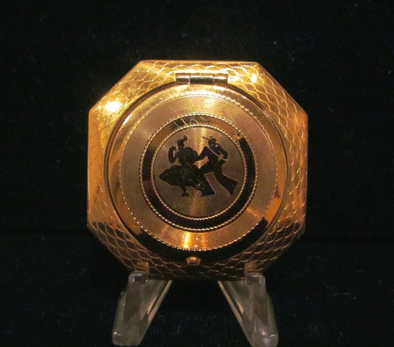 Vintage Powder Compact Terri Compact Gold Plated Compact Mirror Compact Art Deco Compact RARE