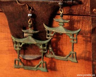 PAGODA, asian pagoda earrings, rustic green verdigris patina, metallic beads Oriental buddha temple jewelry Exotic dangle drops Om yoga gift
