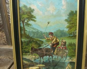 Victorian antique fine art lithograph print, children goat cart nature, glitter adds fantasy style in gold black frame, nursery boys girls.