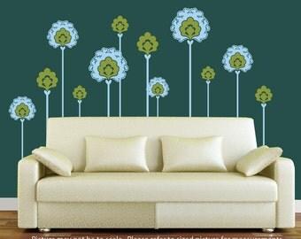 DAMASK FLOWER Wall Decals - floral wall decals garden wall decals