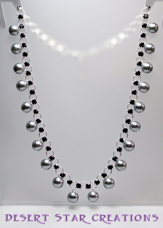Romantic Black Rhinestone and Smokey Gray Pearl Necklace