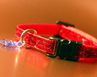 Red Glitter Breakaway Cat Collar wIth Fish Charm