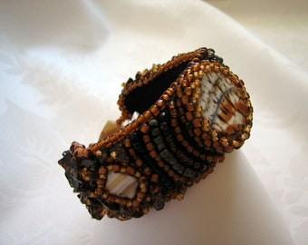 Embroidered Bracelet, Seed Beads, Bracelet-Harvest Delight, Wearable Art,  (Glass Cabochons, Amber)   SALE