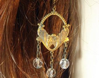 Vintage Brass Crystal Earrings