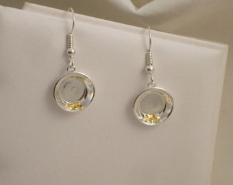 Goldpan Earrings - Sterling Silver and Natural Gold Nuggets