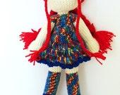 Crochet doll soft toy red blue yellow bright kids children spring