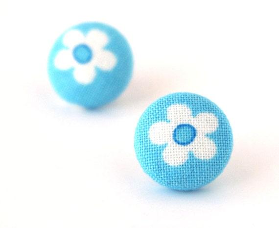 SALE Blue button earrings - flower stud earrings - blue fabric earrings - bright post earrings tiny cute