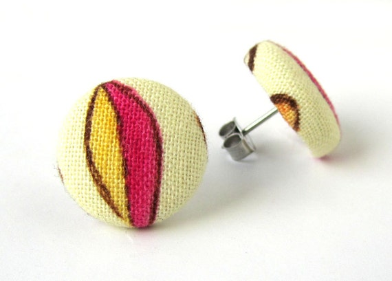 SALE Button earrings studs yellow brown pink beige fabric covered