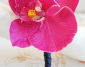 Tropical Boutonniere, Orchid Boutonniere, Fuchsia and Navy Orchid Boutonniere, Beach Wedding Boutonniere