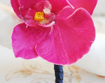 Fuchsia and Navy Orchid Boutonniere