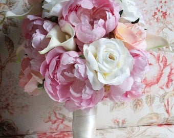 Peony Bouquet - Pink Peony, Pink and Ivory Rose, and Ivory Calla Lily Bridal Bouquet
