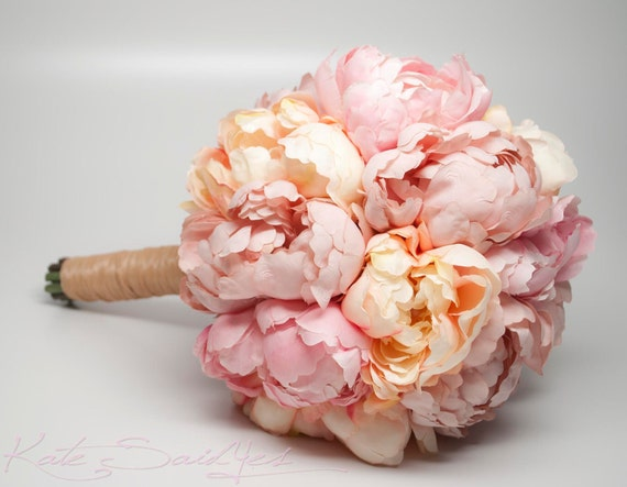 Wedding Bouquet Pink and Peach Peony Bouquet Rustic Shabby Chic Wedding Bouquet