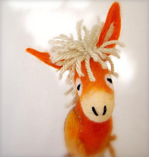 Augustina - Felt Donkey. Art Animal Marionette, Handmade Puppet, Felted Animals, Stuffed Toy. orange yellow beige cream sunny. MADE TO ORDER