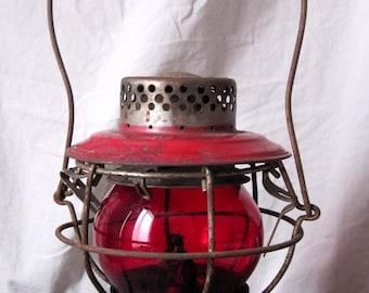 Handlan Railroad Lantern with Red Globe