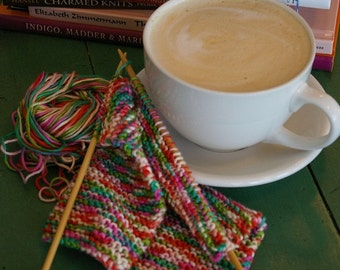Knitting and Chai Afternoon 5x7 Fine Art Photographic Print Colorful Yarn Coffee Cup Gift Under 10