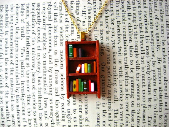 Maple Sugar Bookshelf Necklace - Book Jewelry by Coryographies (Made to Order)