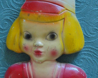 Vintage Chalkware,  Wall plaque, Drum Majorette, marching band