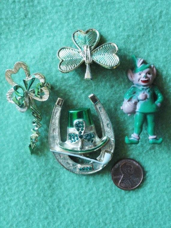 IRISH jewelry, Shamrock jewelry, Horseshoe Jewelry SET, Luck of the Irish