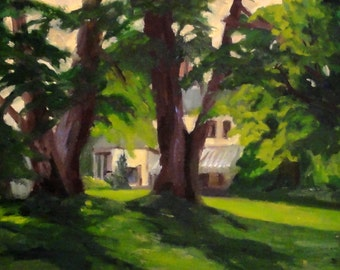 Landscape painting Tanglewood Sunset, framed original oil, 8x10