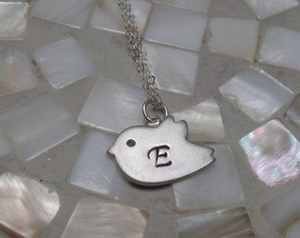 Bird initial necklace - hand stamped - silver - personalized - bridesmaid jewelry - wedding party