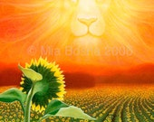 "LEO Lion with sun and sunflowers - zodiac art - 8"" x 10"""