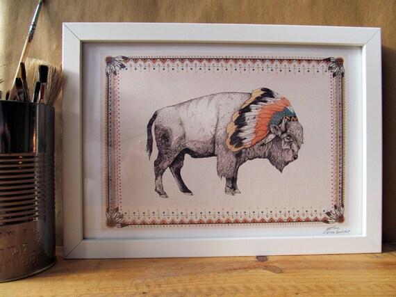 White Bison // A4 print