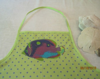 SALE - Apron with tropical fish applique and pockets - Now REDUCED!!