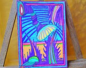 """Stylized Abstract Ink Sketch ACEO Art Card, Original Signed 2.5"""" x 3.5"""""""