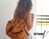 Handmade leather shopping bag - Julia in light  tan color MADE TO ORDER