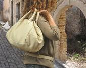 Leather medium sized handbag - Carmen in beige color  MADE TO ORDER