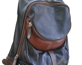 Handcrafted leather backpack, Nota in black. MADE TO ORDER