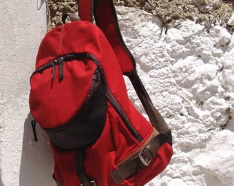 Italian  cotton plain woven fabric -leather backpack ,Nota in Red MADE TO ORDER