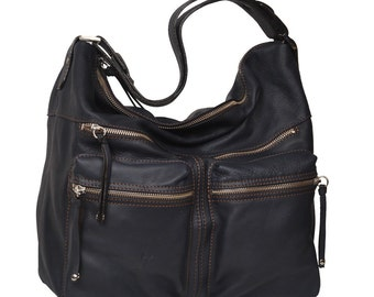 Handmade Leather Shoulder Bag - Hermes in dark blue MADE TO ORDER