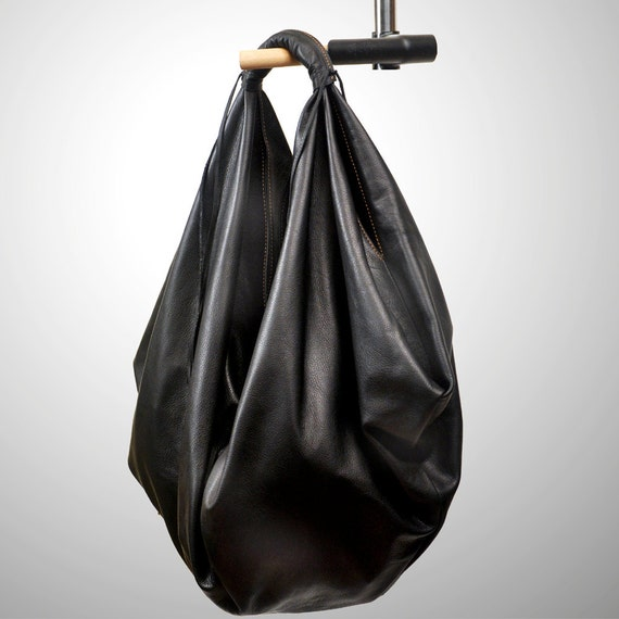 Hobo bag ,Medium sized in  black leather ,named Dimitra MADE TO ORDER