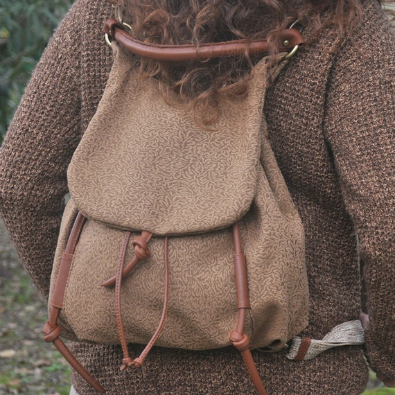 Handmade backpack in  patterned  heavy cotton with leather details,named Daphne MADE TO ORDER