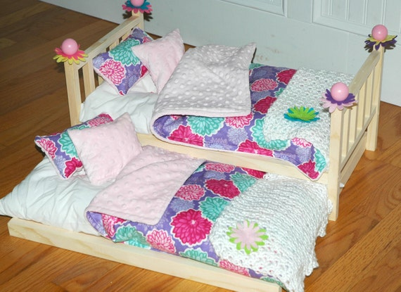 American Girl Doll Bed - Pretty Posies Trundle Bed -Fits American Girl Dolls and 18 Inch Dolls