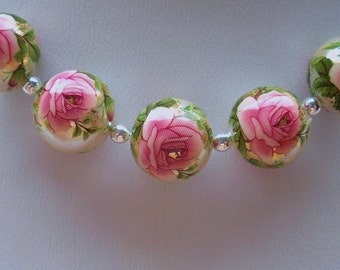 NEW Lot Pretty Japanese Tensha Beads Pink Rose on Pearl 12 MM
