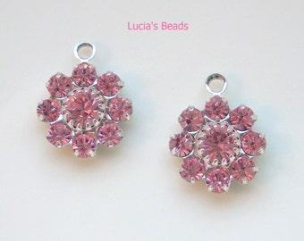 NEW GORGEOUS Set of  (4) Swarovski Crystal 10MM Components in Beautiful Light Rose