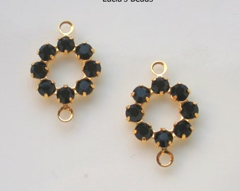 NEW GORGEOUS Set of  (4) Swarovski Crystal 10MM Components in Jet