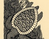 Sea Turtle Screenprint 4x6