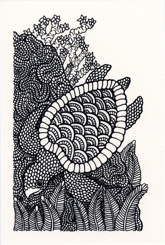 Black and White Sea Turtle Screenprint 4x6