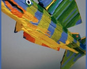 Colorful Whimsical Painted Wood Fish Art - Yellow Blue, Green, Ready to Hang Fish for Creations Childrens Bedroom, Kitchen, Bath...