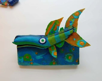 Table Top Fish Art - Colorful Whimsical Funky Fish Art Recycled Painted Wood Mixed Media 3d Creation